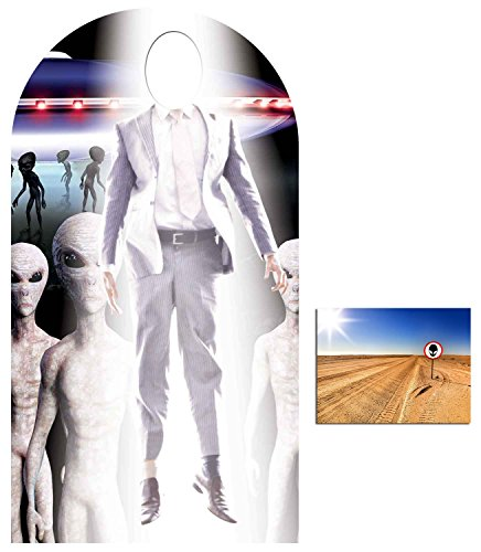 Alien Stand - Fan Pack - Alien Abduction Ufo Area 51 Stand-in Lifesize Cardboard Cutout / Standup - Includes 8x10 Star Photo