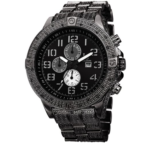 Joshua & Sons Men's JS78BK Swiss Quartz Multifunction Black Bracelet Watch