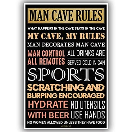 artinkart poster man cave funky quotes funny posters for boys room door office gift for boys 12x18 inch unframed amazon in home kitchen