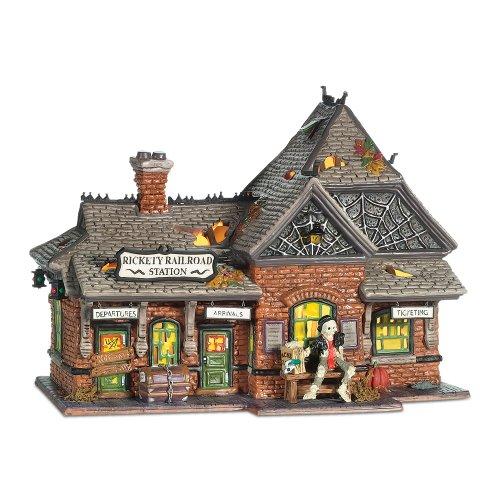 Department 56 Snow Village Halloween Rickety Railroad Station -