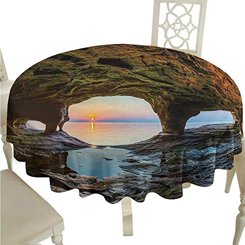 (longbuyer Round Tablecloth Black Natural Cave,Horizon View from Fairy Mossy Invisible Big Grotto by The Sea Up Rocks Photo,Green Blue D54,for Umbrella Table)