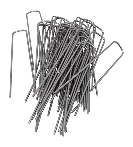 6 Inch 11 Gauge Heavy Duty U Shaped Garden Securing Pegs - Sod Staples For Securing Weed Fabric, Landscape Fabric, Netting, Ground Sheets and Fleece - Garden Spikes (50 Pack 6 Heavy (Garden Spike Lights)