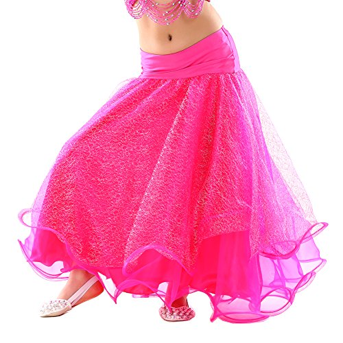 [2017 New Girls Belly Dance Mesh Skirt Princess Party Midi Skirt(Rose Red)] (Dance Team Costumes Competition)