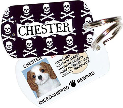 Skulls and Crossbones Custom Dog Tags for Pets - Personalized Pet ID Tags - Dog Tags For Dogs - Dog ID Tag - Cat ID Tags - Pet ID Tags For Cats - With Pet Photo