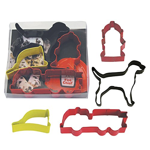 R&M International 1884 Fire Truck Cookie Cutters, Dog, Hydrant, Helmet and Truck, 4-Piece Set -
