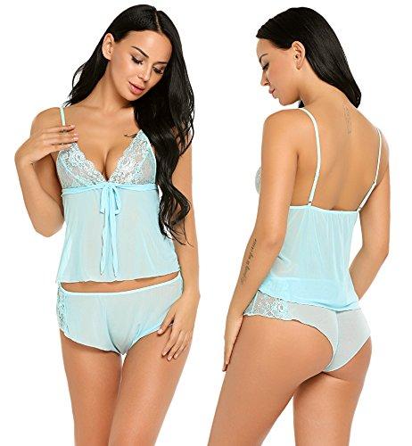 Avidlove Women Lace Lingerie Mesh Pajama Cami Shorts Set Babydoll Chemise