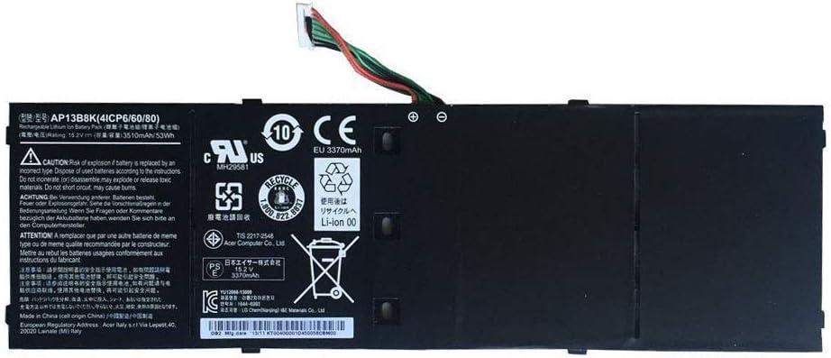FLIW AP13B8K AP13B3K Replacement Battery Compatible with Acer Aspire V5 V5-572P V5-572G Notebook,Fits 4ICP6/60/80 AP13B8K AP13B3K Battery [15.2V 53Wh 3510mAh ]