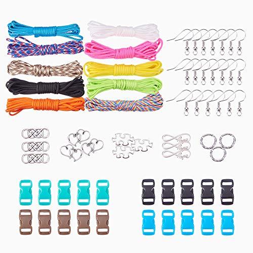 Hook Bracelet Buckle (SUNNYCLUE Paracord Charm Bracelet Earrings DIY Crafting Kits - 10 Color 164ft Paracord & 20pcs Buckles & 15pcs Links & 20pcs Earring Hooks - Makes 10 Bracelet & 10 pairs Teardrop Earrings)