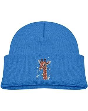 Kids Knitted Beanies Hat Waterproof Giraffe Painting Winter Hat Knitted Skull Cap for Boys Girls Black