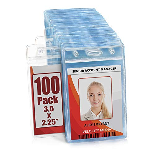 MIFFLIN Plastic Waterproof ID Badge Holders (Clear, 3.5x2.25 Inch, 100 Pack), Vertical Hanging Name Card Holder with Zipper, Resealable Bulk Nametag Holders