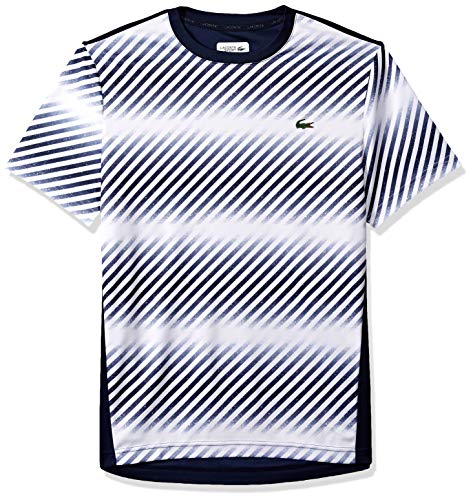 Lacoste Men's Sport Short Sleeve Ultra Dry Pique T-Shirt W/Print at Front, White/Navy Blue, Large