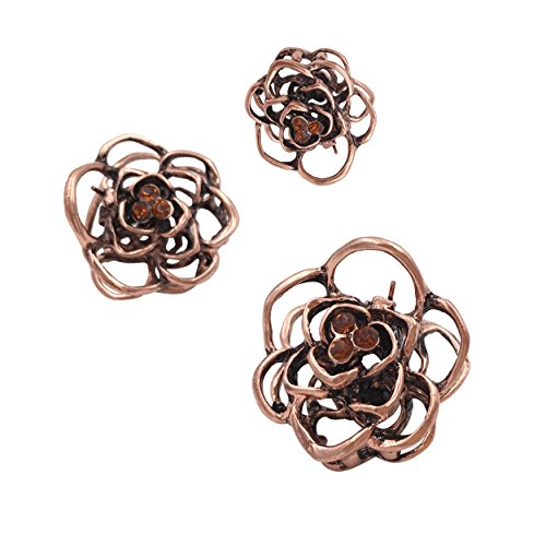 3PCS Vintage Rose Mini Small Metal Hair Claws Clips Clamps Girls Ladies Women