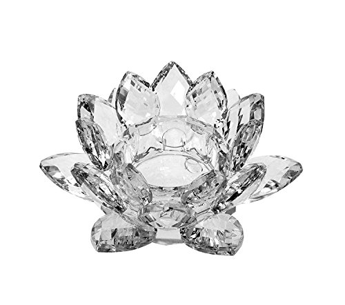 Blossom Lotus Crystal - Amlong Crystal Clear Crystal Lotus Tealight Candle Holder 4.5 inch in Gift Box
