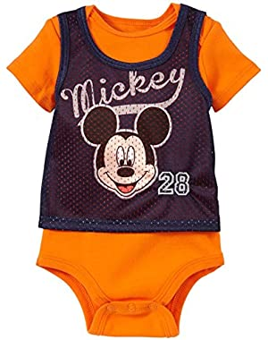 Disney Baby Boys' Mickey Athletic Creeper (Baby) - Orange