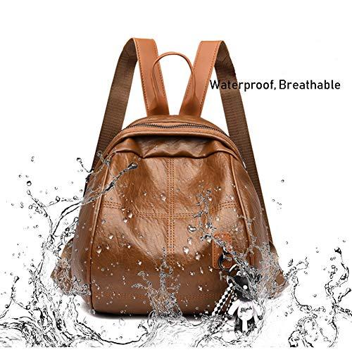 khaki Pelle Escursioni Donna College Viaggio Vintage Bag Donna Spalle Khaki Borsa Zaino Nero In Di Laptop Il Per Work Scuola black qtBfx4wT