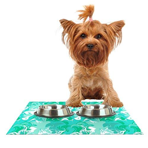 Kess InHouse Anneline Sophia Marbleized in Seafoam  Teal Aqua Feeding Mat for Pet Bowls, 18 by 13