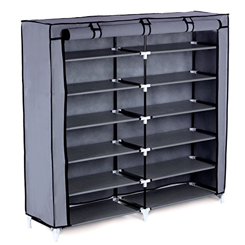 SONGMICS 7-Tier Shoe Rack 36-Pair Portable Shoe Storage Cabinet Organizer with Fabric Cover Grey URXJ12G