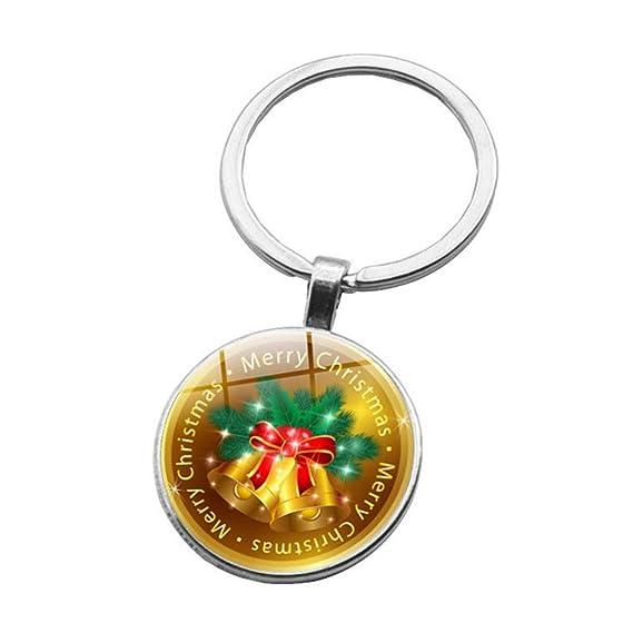 Cupcinu Llavero de navidad Llavero redondo de aleación Bolso de embrague del coche ornamento Patrón de