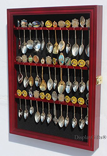 36 Tea Spoon Souvenir Spoon Display Case Holder Wall Cabinet, UV Protection. Lockable (Cherry Finish)
