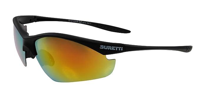 SURETTI Sport Sonnenbrille, Schwarz, One Size