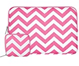Mosiso Laptop Sleeve Bag for 14 Inch Notebook Computer Ultrabook with Small Case, Chevron Style Canvas Fabric Case Cover, Rose Red