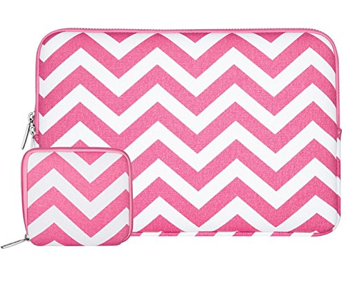 Mosiso Laptop Sleeve Bag for 13-13.3 Inch MacBook Pro, MacBook Air, Notebook with Small Case, Chevron Style Canvas Fabric Case Cover, Rose Red