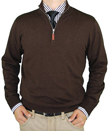 LN LUCIANO NATAZZI Classic Fit Quarter Zip Mock Neck Sweater Cotton Cashmere Touch (XXX-Large,Chocolate)