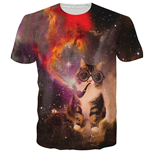 RAISEVERN Unisex Nebula Smoking Cat With Glasses Print Hipster Humorous T Shirts Tees Smoking Cat (Smoking Cat)