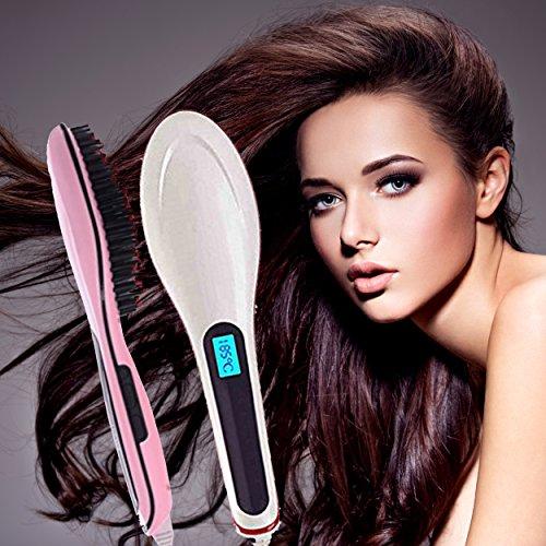 NEU!! Elektrische Glättbürste mit CE Haarglätter Haarbürste Glätteisen für lange Haare mit LCD Anzeige, Farbe Weiss oder Pink