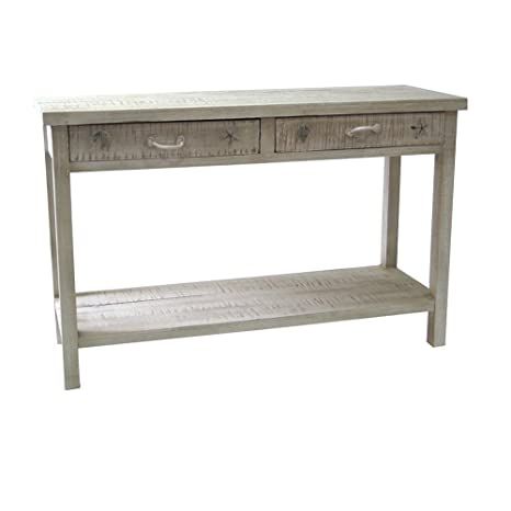 amazon com seaside white coastal console table home improvement rh amazon com Distressed Sofa Table Beach Sofa Table