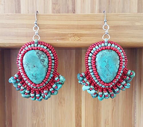 Real Turquoise Earrings with Real Turquoise and Red Beaded Fringe, Cynthia Fox Design - Earrings Turquoise Fox