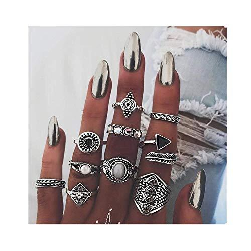 Bohemian Knuckle Ring Set Vintage Silver Crystal Joint Knuckle Ring Set for Women (Silver, 9 Pieces) -