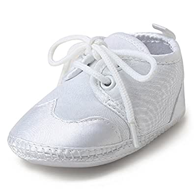 DELEBAO Baby Infant Lace Up Satin Christening Baptism Shoes Bootie Slippers Sneakers (0-6 Months, Shoes A)