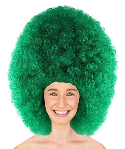Halloween Party Online Super Size Jumbo Afro Wig Collection, Adult & Kids (Adult, Dark Green)