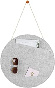 mDesign Decorative Soft Felt Hanging Storage Organizer - Round Mail Sorter/Letter Holder with Rope, Wall Mount Wood Knob - 4 Wide Pockets - for Entryway, Bedroom, Home Office, Dorm Room - Light Gray