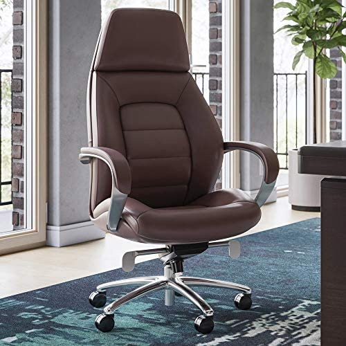 Gates Genuine Leather Aluminum Base High Back Executive Chair