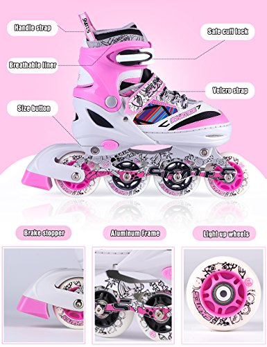 Kuxuan Kids Doodle Design Adjustable Inline Skates with Front and Rear Led Light up Wheels, Comic Style Rollerblades for Boys and Girls - Pink S by Kuxuan (Image #3)
