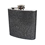 Rhinestone and Stainless Steel Hip Flask - Stores 6 Ounces (Black)