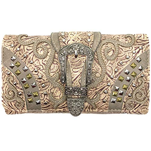 Justin West Clydesdale Tooled Leather Metal Stud Buckle Conceal Carry Women Handbag Purse