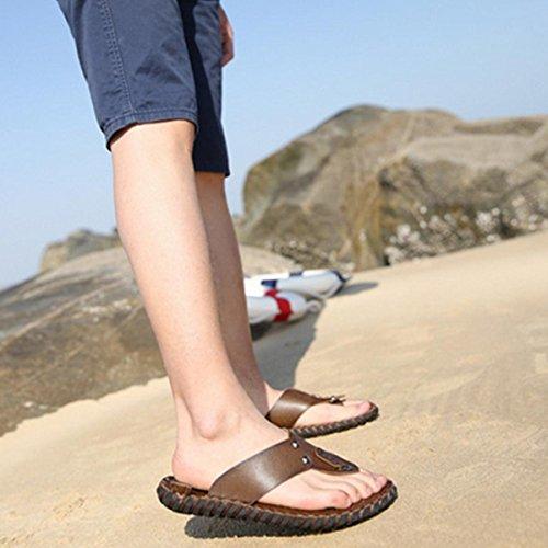 Pinuo 2016 Estate Nuova Tendenza Di Sandali In Pelle Da Uomo Casual Beach Wear Pantofole Moda Scarpe Kaki