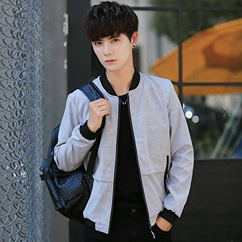 Grigio Autunno Uomo Gioventù Coreana Giacche Sau Uniforme xxl Versione Della Il 75wzqHw