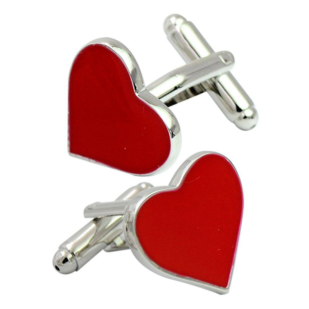 Amytong Love heart groom's red enamel cufflinks, red heart shape design, bright brass bullet cufflink