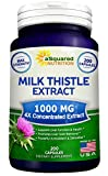 Pure Milk Thistle Supplement 1000mg – 200 Capsules, Max Strength 4X Concentrated Extract 4:1 Milk Thistle Seed Powder Herb Pills, 1000 mg Silymarin Extract for Liver Support, Cleanse, Detox & Health