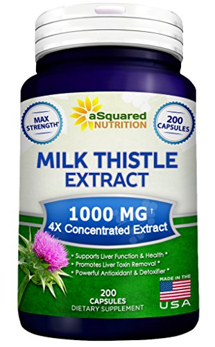 Pure Milk Thistle Supplement 1000mg - 200 Capsules, Max Strength 4X Concentrated Extract 4:1 Milk Thistle Seed Powder Herb Pills, 1000 mg Silymarin Extract for Liver Support, Cleanse, Detox & Health Blessed Thistle Herb Extract
