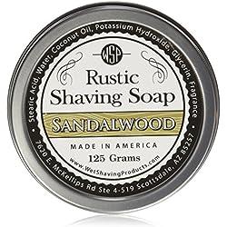 WSP Luxury Rustic Shaving Soap 4.4 Oz in Tin Artisan Made in America Using Vegan Natural Ingredients (Sandalwood)