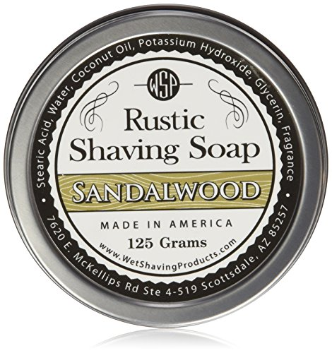 WSP Luxury Rustic Shaving Soap 4.4 Oz in Tin Artisan Made in America Using Vegan Natural Ingredients (Sandalwood)