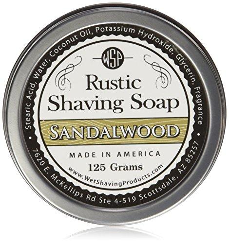 WSP Rustic Shaving Soap (Sandalwood) 4.4 Oz in Tin Artisan Made in America Using Vegan Natural Ingredients