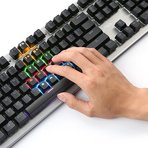 Wired Gaming Mechanical Keyboard, MAD GIGA K360 Keyboard with Blue Switch, 104-Key Rainbow Gaming Keyboard for PC & Mac Gamers, Backlit RGB LED (Silver)