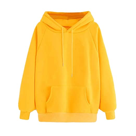 19ebd334c Women Yellow Long Sleeve Hoodie Sweatshirt with Pocket Hooded Pullover Tops  at Amazon Women's Clothing store: