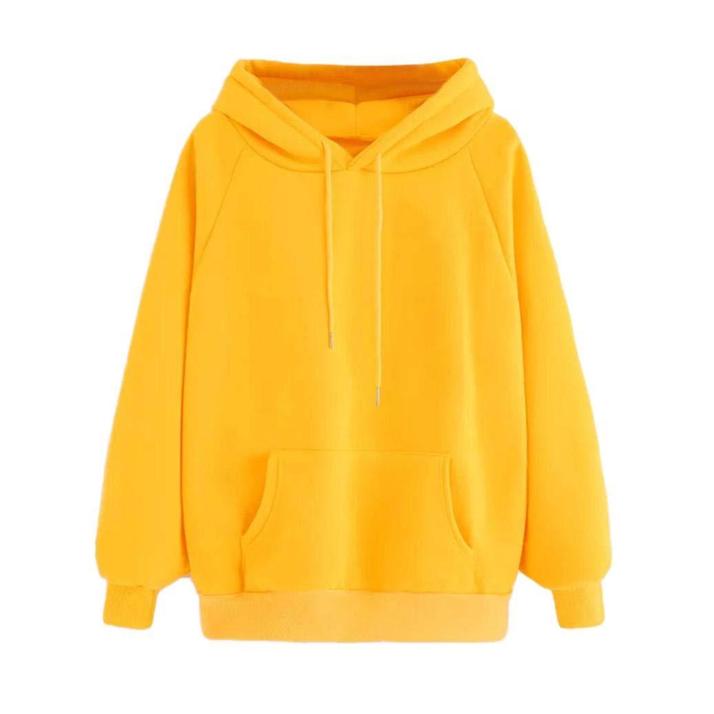 Women Teen Girls Hoodie,Color Patchwork Long Sleeve Hoodie Sweatshirt Pullover Crop Tops Blouse (Yellow, US Size:8-10)
